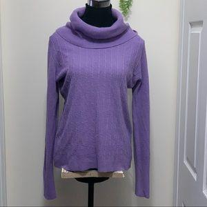 Jones Studio Nude Purple Cowl Neck 100% Acrylic Sweatshirt Sweater Top
